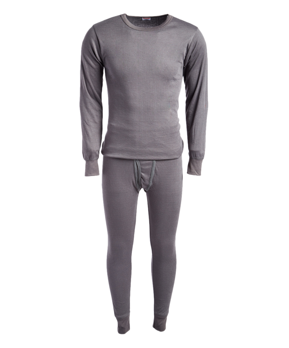 ROCKY Men's Thermal Bottoms CHARCOAL - Charcoal Thermal Underwear Set - Men Charcoal Thermal Underwear Set - Men. This soft thermal set features lightweight, cotton-blend fabric that provides both warmth and breathability, while the sleek design gives him the ability to use these multitaskers as sleepwear or a base layer under almost any attire.Size note: This set is meant to have a tight fit so they can be worn underneath other clothing for additional warmth. If you wish to wear as loungewear or sleepwear, ordering one size up is recommended.Includes top and bottomsSize L: 30'' long from high point of shoulder to hem; 27'' inseam65% cotton / 35% polyesterMachine wash; tumble dryImported