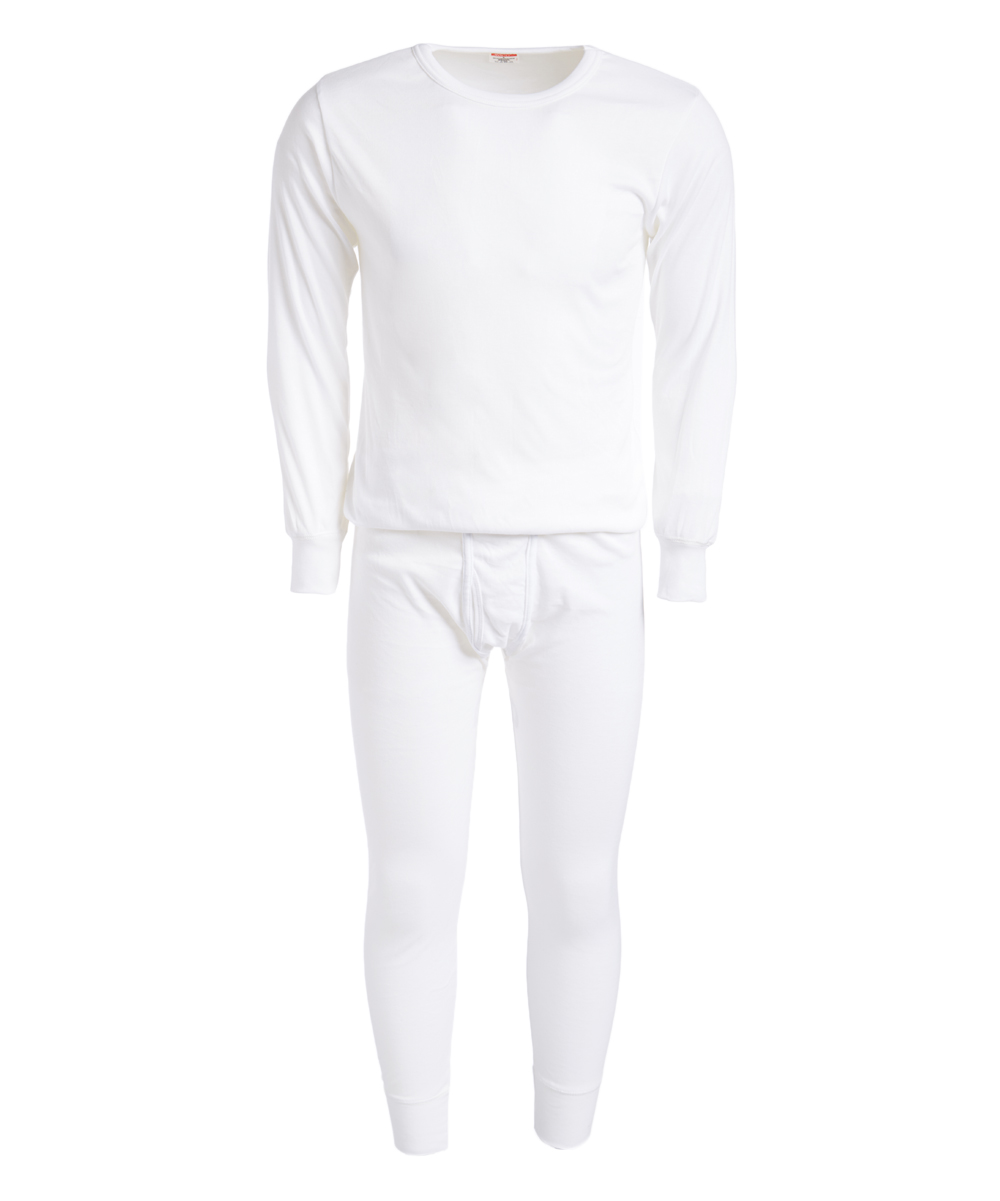 ROCKY Men's Thermal Bottoms WHITE - White Thermal Underwear Set - Men White Thermal Underwear Set - Men. This soft thermal set features lightweight, cotton-blend fabric that provides both warmth and breathability, while the sleek design gives him the ability to use these multitaskers as sleepwear or a base layer under his attire.Size note: This item runs small. Sizing up is recommended.Includes top and bottomsSize L: 30'' long from high point of shoulder to hem; 27'' inseam55% cotton / 45% polyesterMachine wash; tumble dryImported