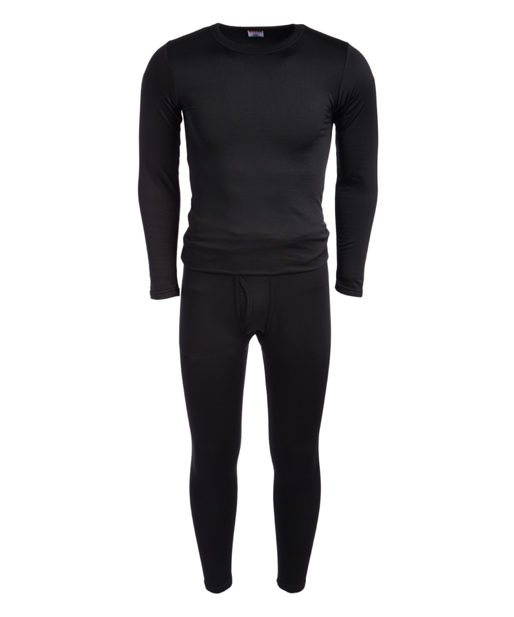 ROCKY Men's Thermal Bottoms BLACK - Black Fleece-Lined Thermal Underwear Set - Men Black Fleece-Lined Thermal Underwear Set - Men. He stays warm on cool days in this supersoft thermal set crafted with lightweight fleece for warmth and breathability. The sleek design slips under outfits as a base layer. Size note: This set is meant to have a tight fit so they can be worn underneath other clothing for additional warm. If you wish to wear as loungewear or sleepwear, ordering one size up is recommended.Includes top and bottomsSize L: 29'' long from high point of shoulder to hem; 27'' inseam92% polyester / 8% spandexMachine wash; tumble dryImported