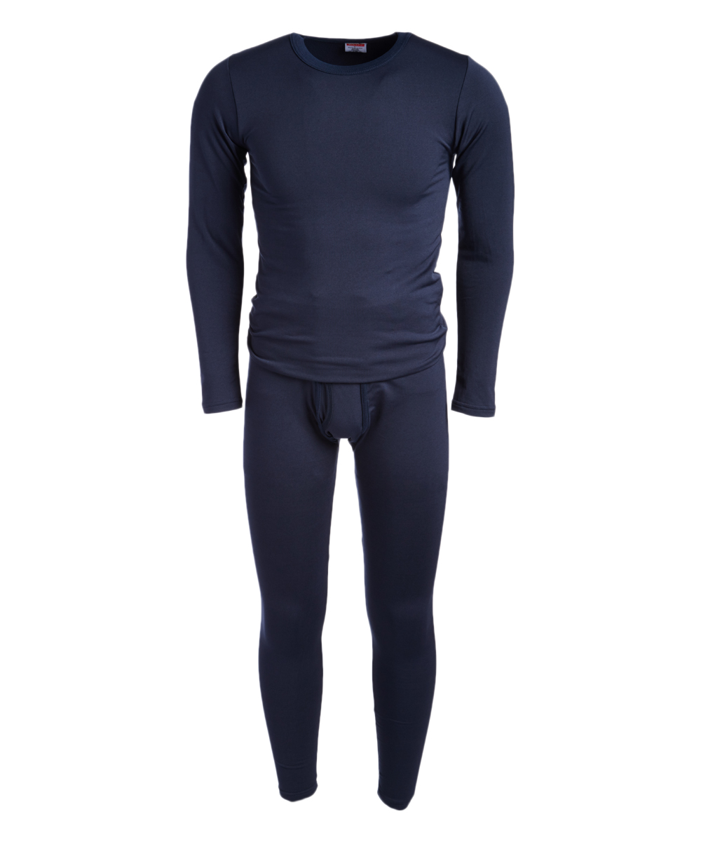 ROCKY Men's Thermal Bottoms NAVY - Navy Fleece-Lined Thermal Underwear Set - Men Navy Fleece-Lined Thermal Underwear Set - Men. He stays warm on cool days in this supersoft thermal set crafted with lightweight fleece for warmth and breathability. The sleek design slips under outfits as a base layer.Size note: This set is meant to have a tight fit so they can be worn underneath other clothing for additional warmth. If you wish to wear as loungewear or sleepwear, ordering one size up is recommended.Includes top and bottomsSize L: 29'' long from high point of shoulder to hem; 27'' inseam92% polyester / 8% spandexMachine wash; tumble dryImported