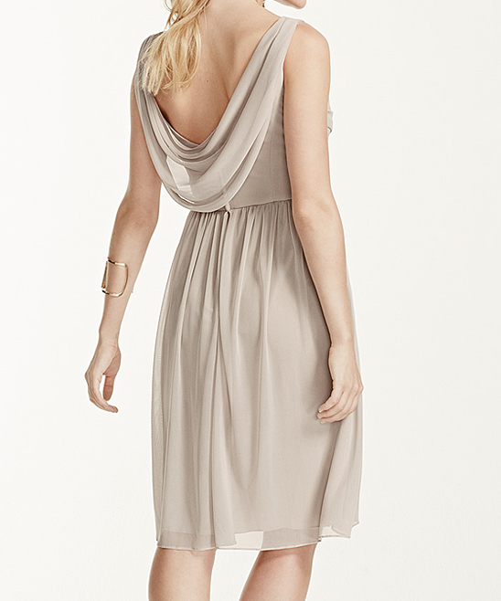 3bf9cde6c4 David s Bridal Horizon Mesh Cowl Back Faux Wrap Dress - Women