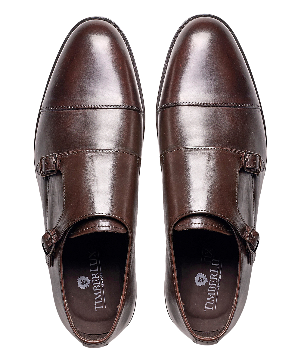 ef097010e6b Timberlux Brown Double Monk Strap Leather Loafer - Men