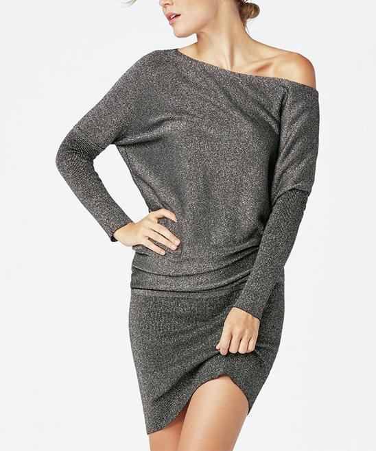af461da1fcca JustFab Black Metallic Off-Shoulder Sweater Dress - Women