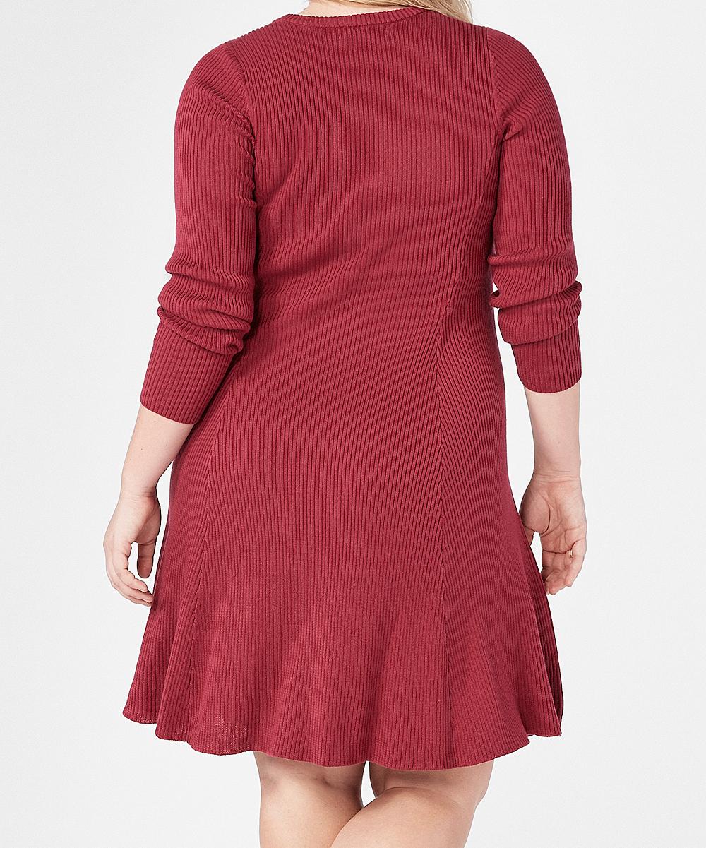 5509d31b06b ... Womens Red Velvet Red Velvet Cutout Fit   Flare Sweater Dress -  Alternate Image ...