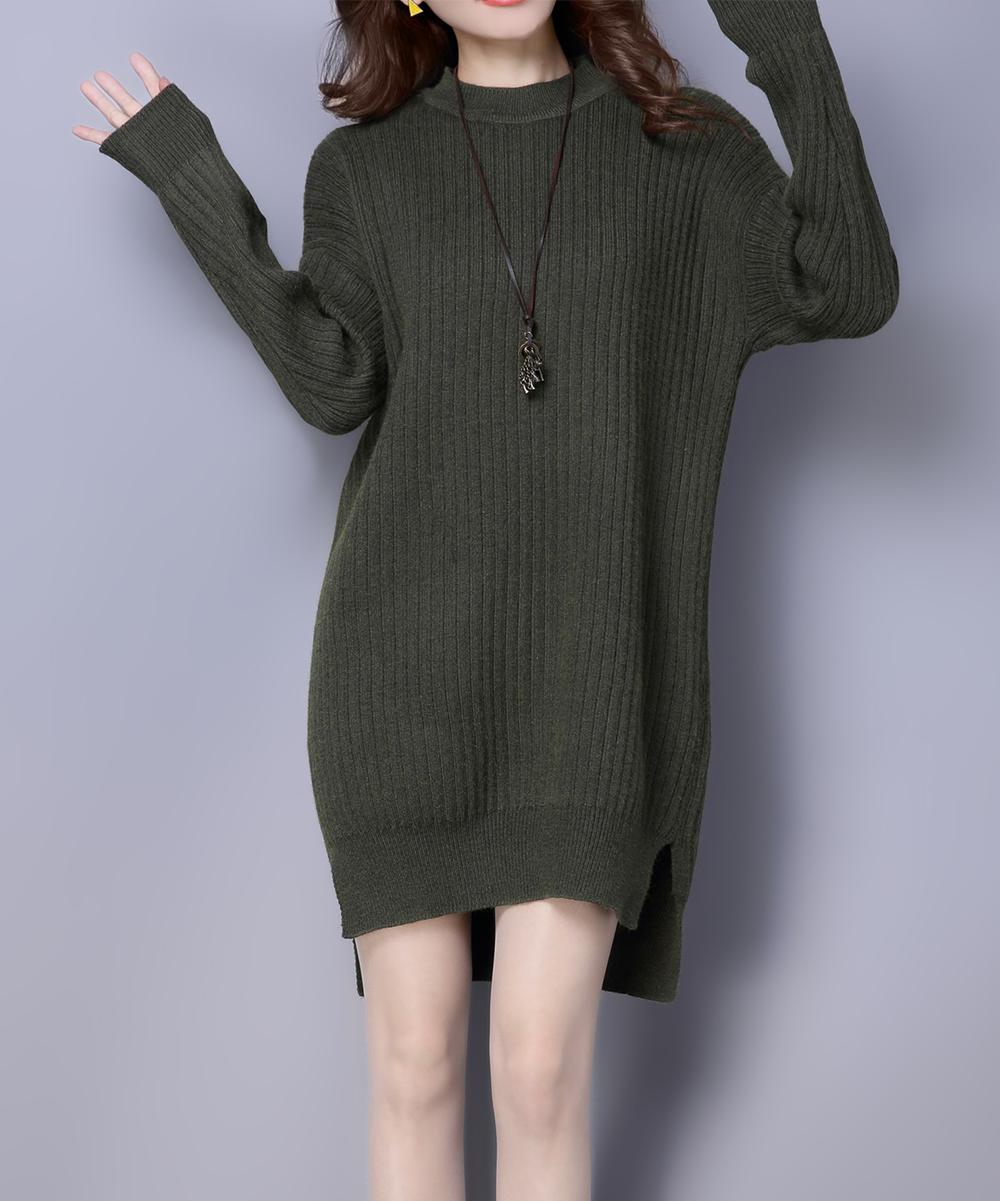 ff7f891543e9 TONSUN Hunter Green Ribbed Mock Neck Sweater Dress - Women   Zulily