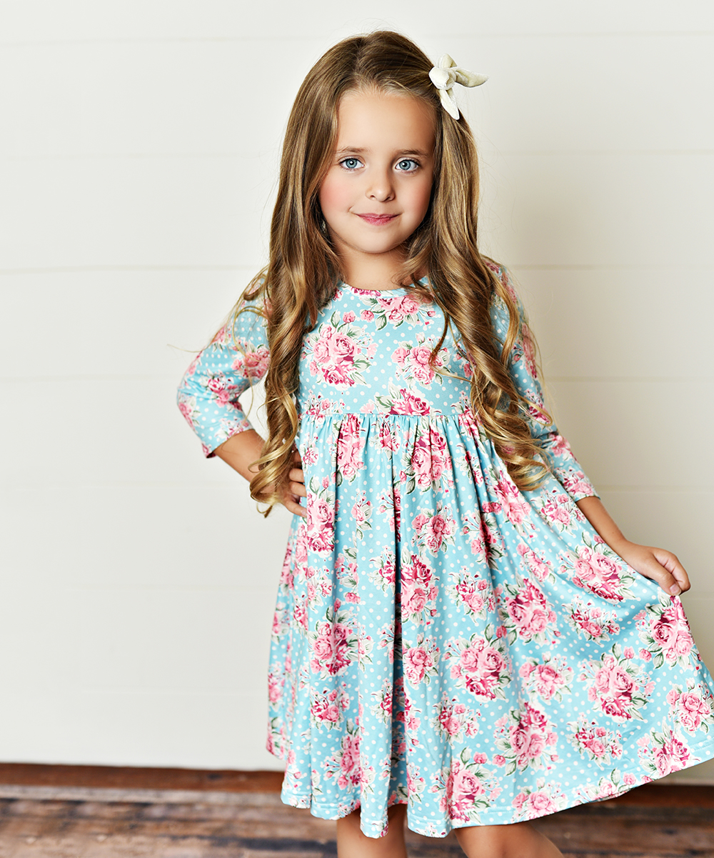 2945427616fb Oopsie Daisy Teal & Pink Floral Floral Babydoll Dress - Girls | Zulily