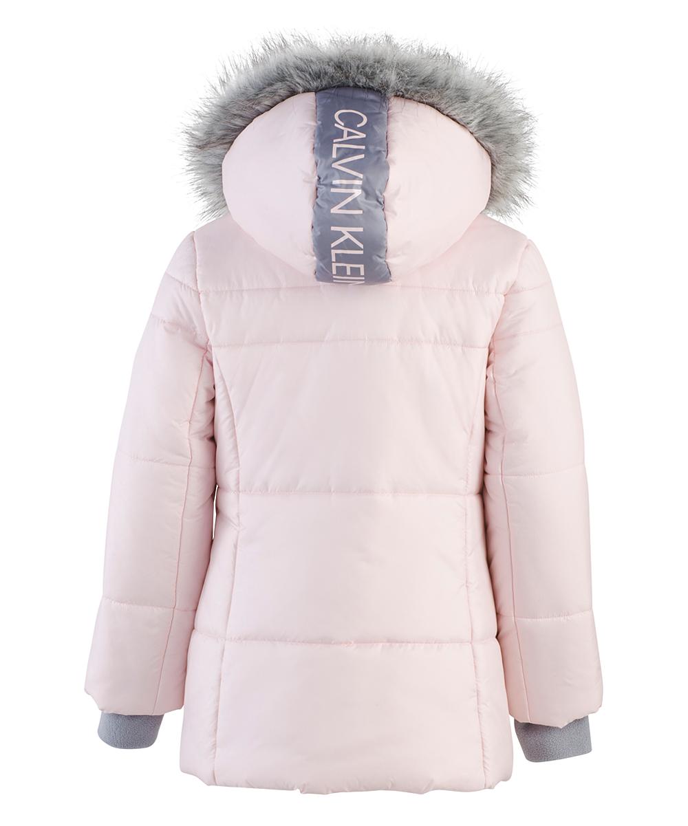 25d569dcb Calvin Klein Jeans Soft Pink Faux Fur Logo Sport Zip-Up Puffer Jacket -  Toddler