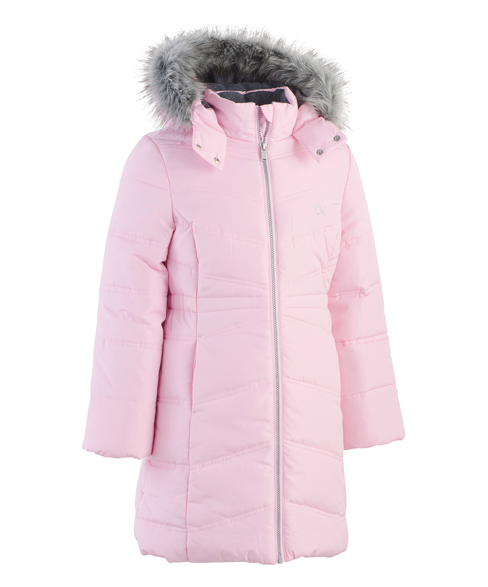 aaa864865 Calvin Klein Jeans Medium Pink Faux Fur Aerial Zip-Up Puffer Coat - Girls