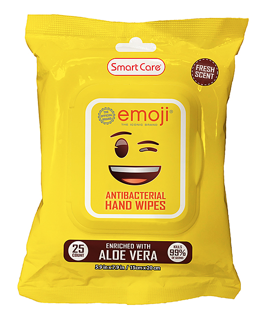 Emoji Antibacterial Wipes Emoji Antibacterial Wipes. Your youngster adds a hilarious touch to their personal hygiene with these emoji antibacterial wipes. Imported