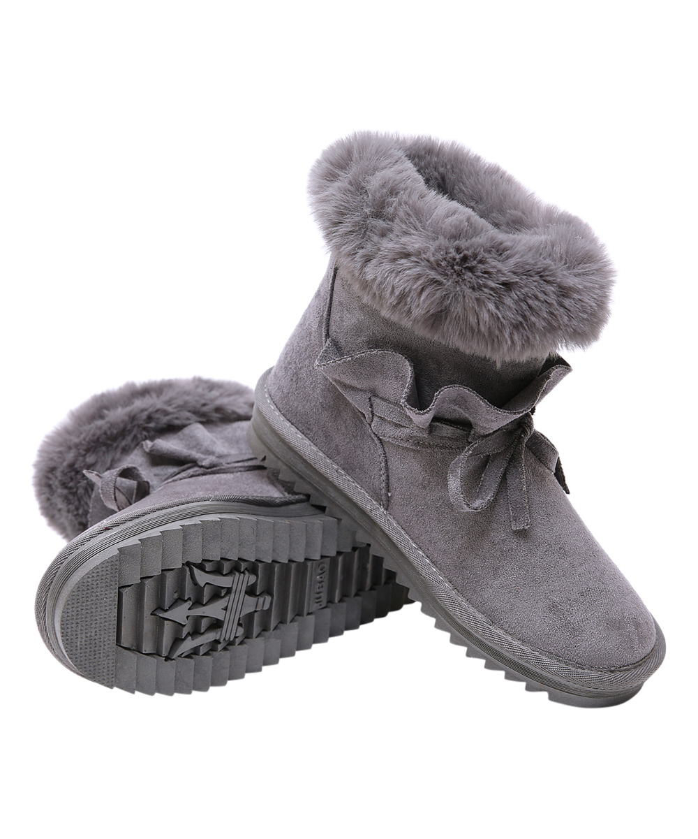9a057b62650 Kozey Gray Faux Fur-Lined Bow-Accent Suede Ankle Boot - Women