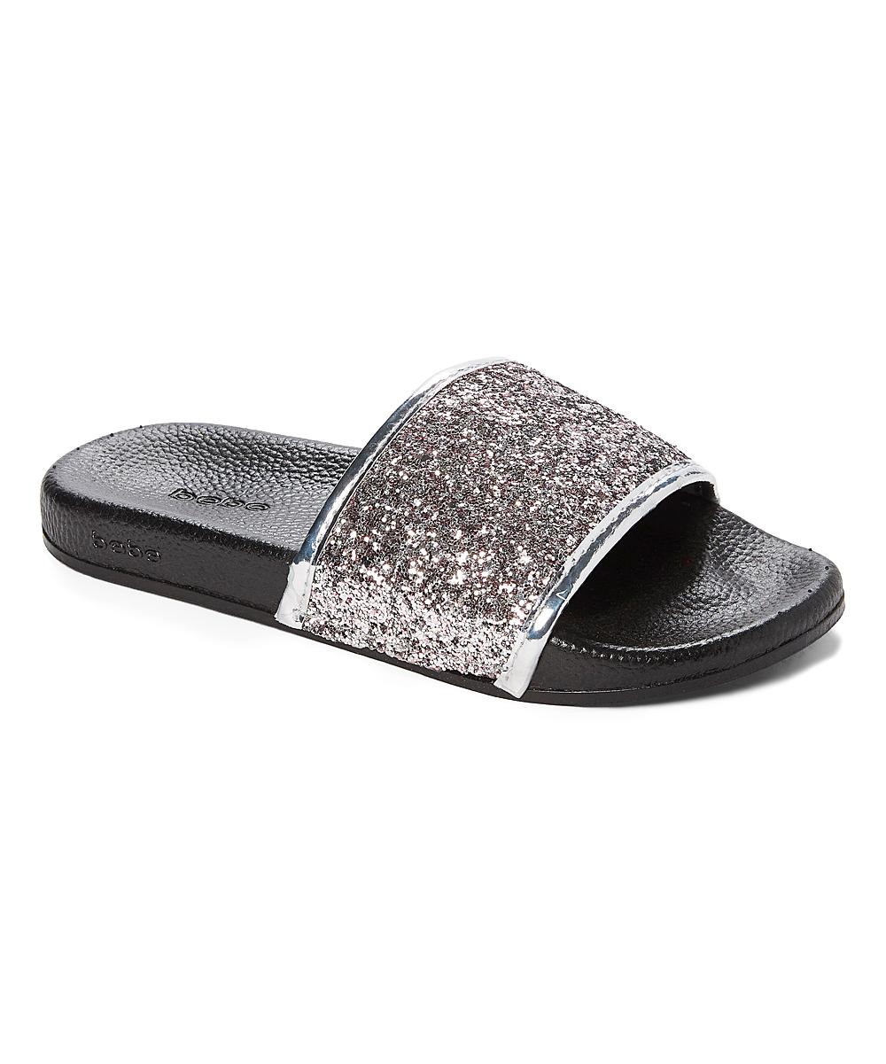 dfe918184ede bebe girls Silver Patent-Trim Glitter Slide - Girls