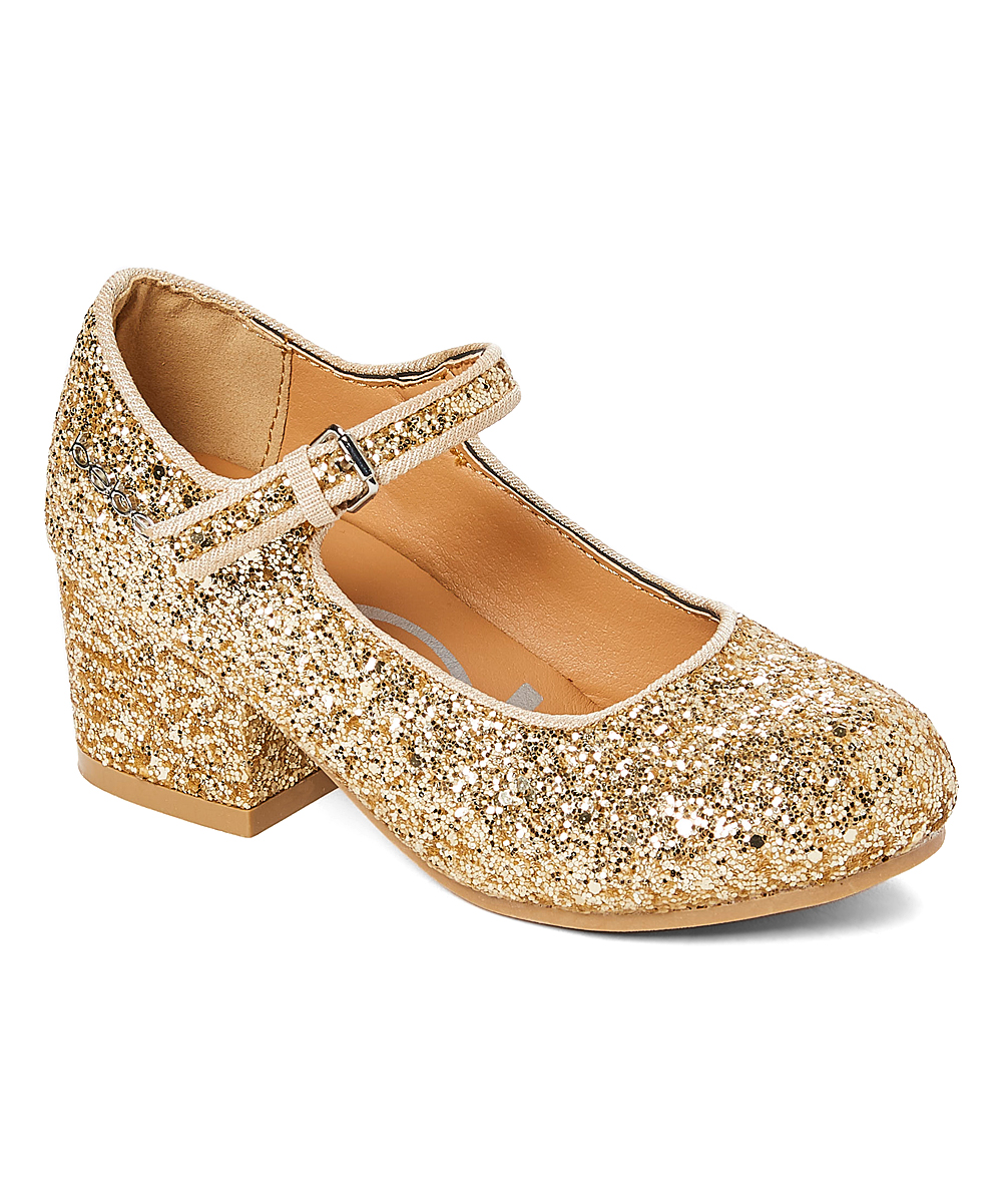 a4ccd342215 bebe girls Light Gold Glitter Mary Jane - Girls
