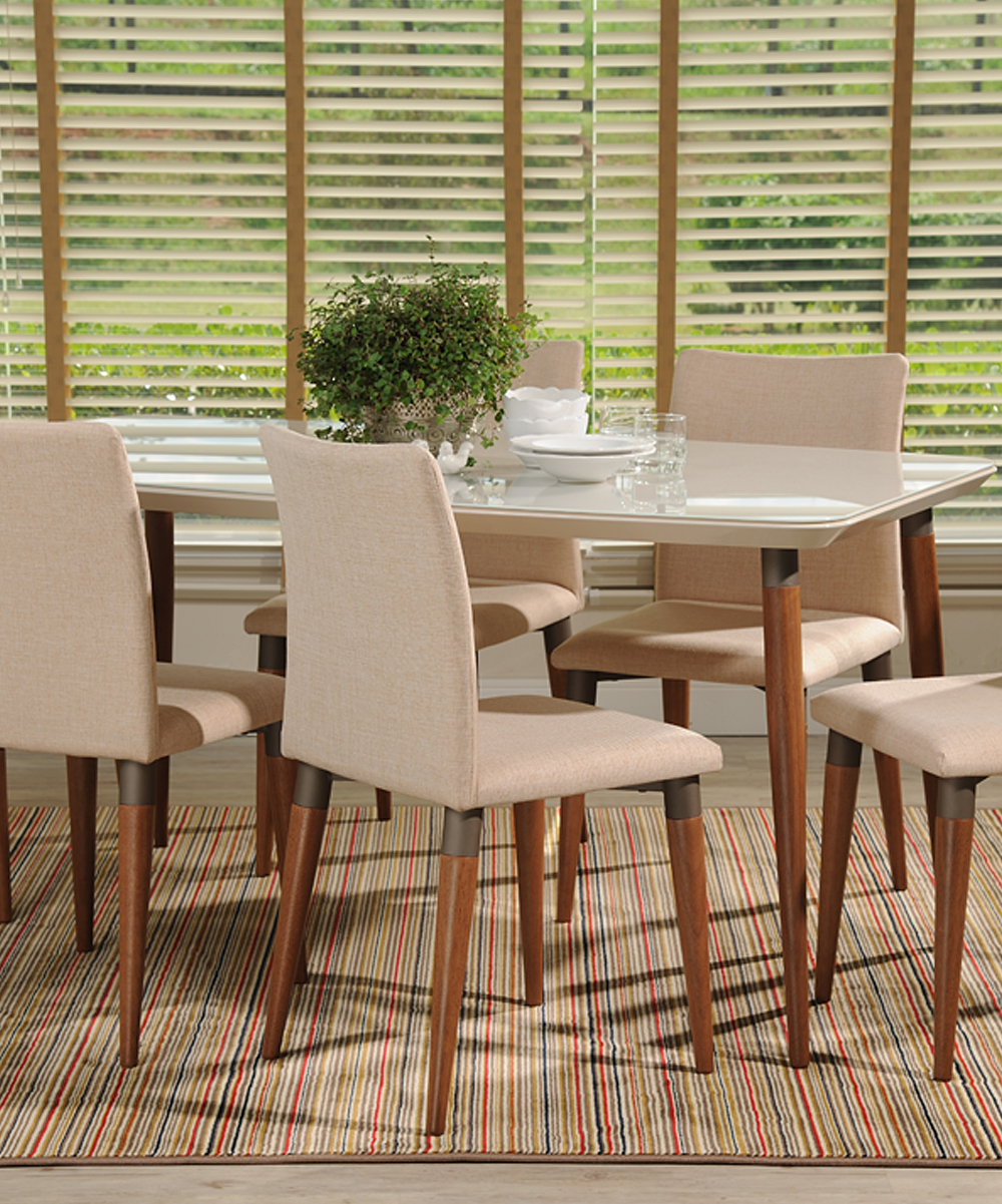 Manhattan Comfort Off-White   Dark Beige Charles Seven-Piece Dining ... 1bab51672