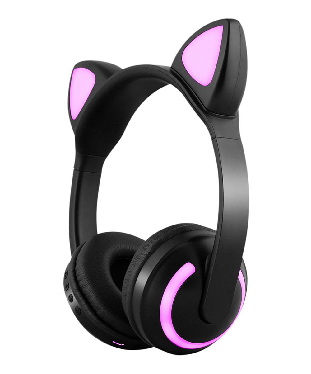 Tech Zebra  Wireless Headphones Multicolor - Black Wireless Cat Ear Light-Up Headphones