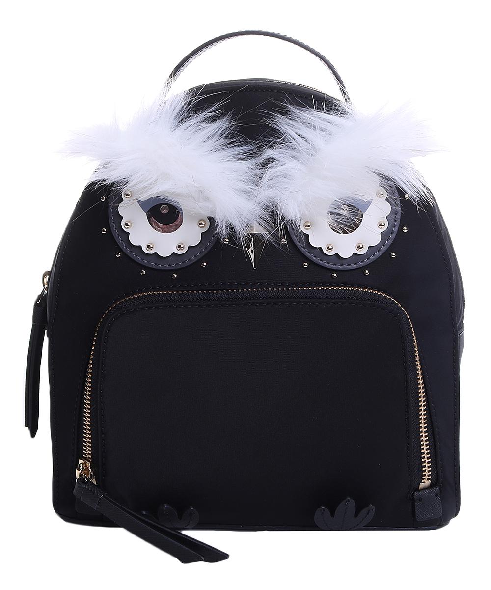 70d2de70ac652 Kate Spade Black Owl Tomi Starbright Nylon Backpack