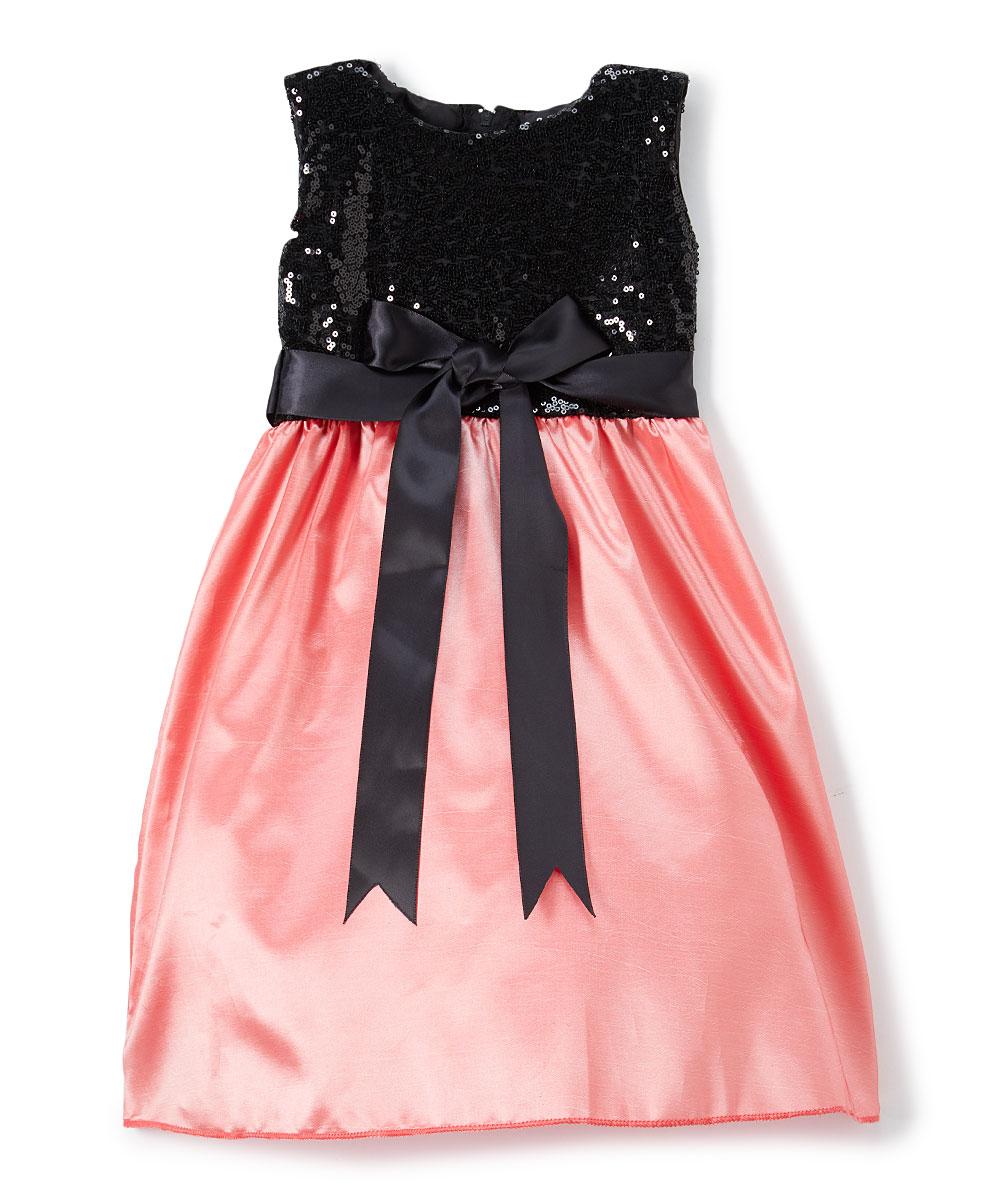 b7cb3b880afa all gone. Coral & Black Sequin Sleeveless A-Line Dress - Toddler & Girls