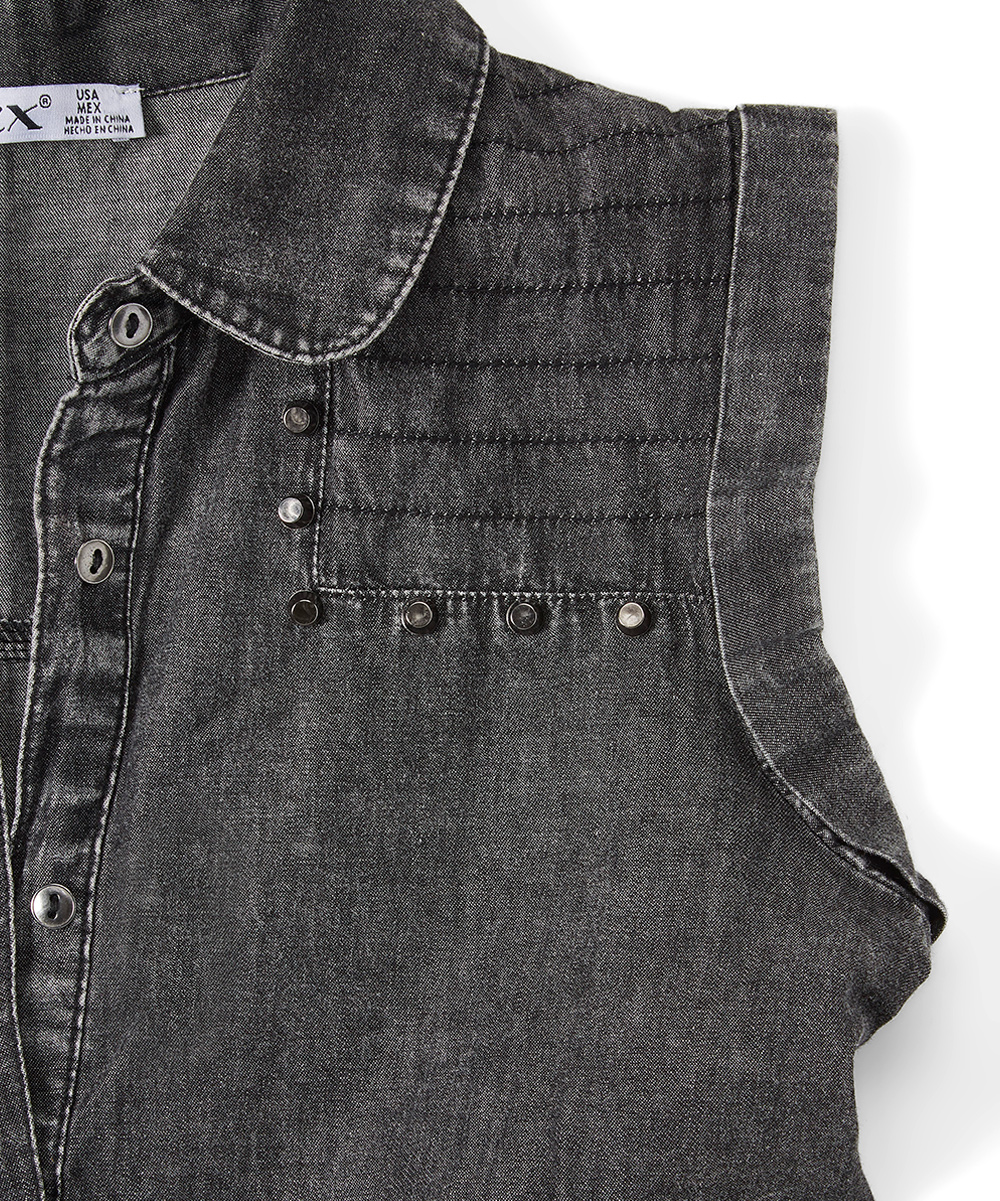 Dex Clothing Black Wash Sleeveless Denim Shirt Dress Girls Zulily