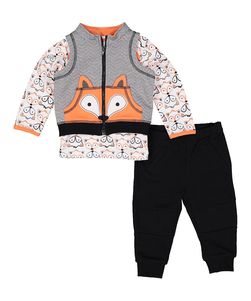 Black & Orange Fox Vest Set - Infant