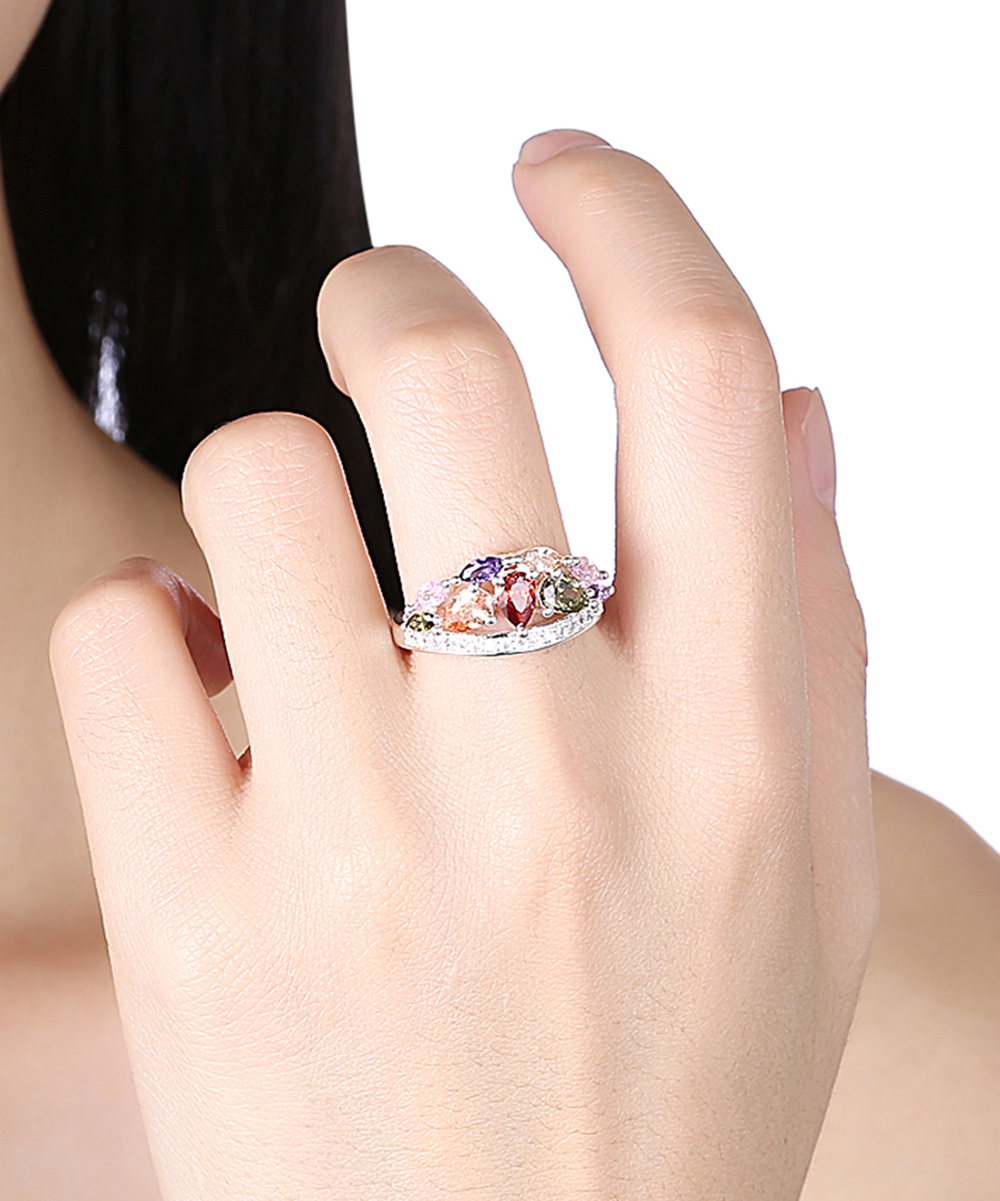 41e32dfc9 ... Womens 18K White Gold Plated Red & Purple Teardrop Ring With Swarovski®  Crystals - Alternate
