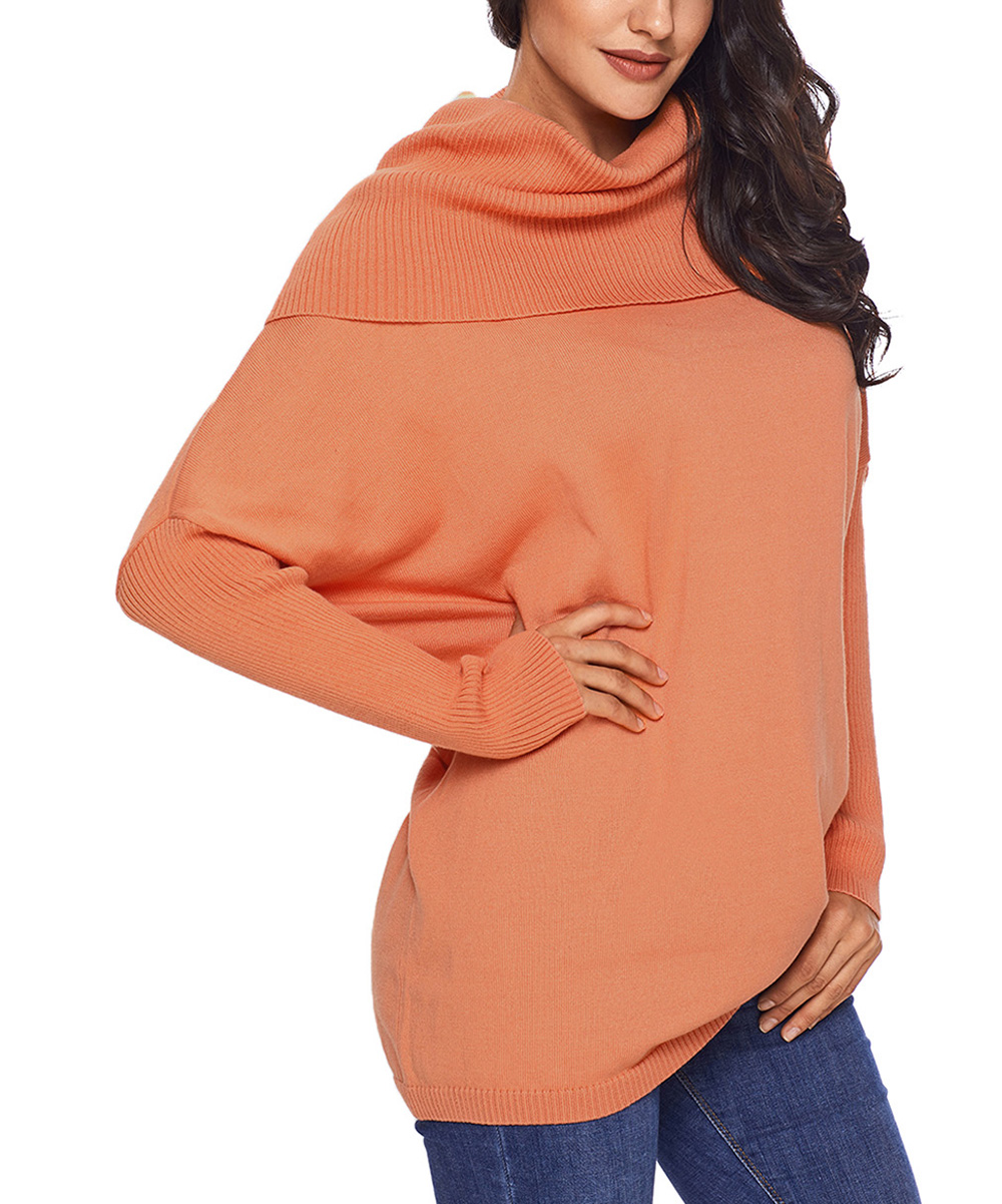 Vlrsy Orange Cowl Neck Sweater Women Zulily