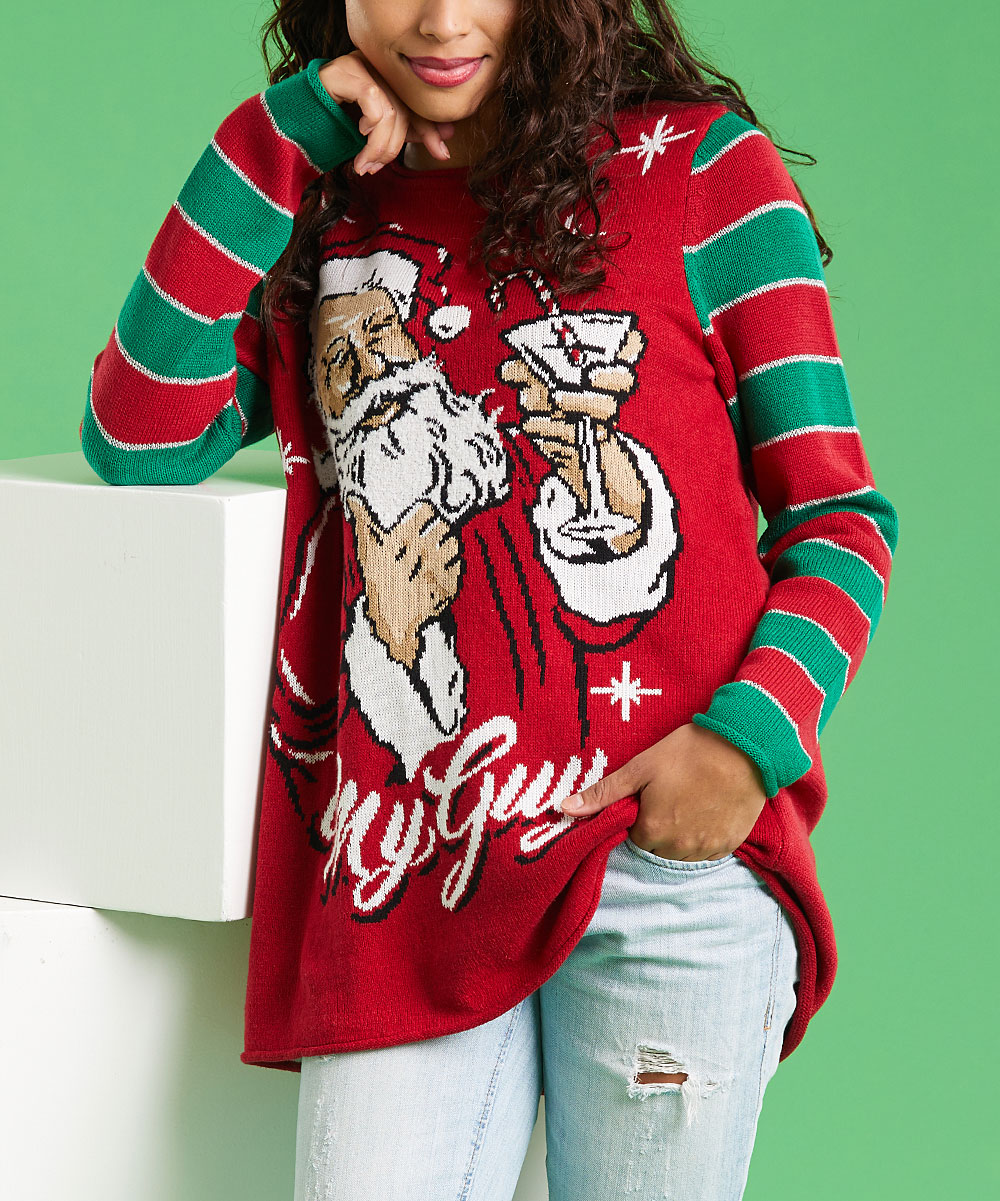 4d5ef754d7 Ugly Christmas Sweater Cayenne Stripe My Guy Santa Claus Sweater ...