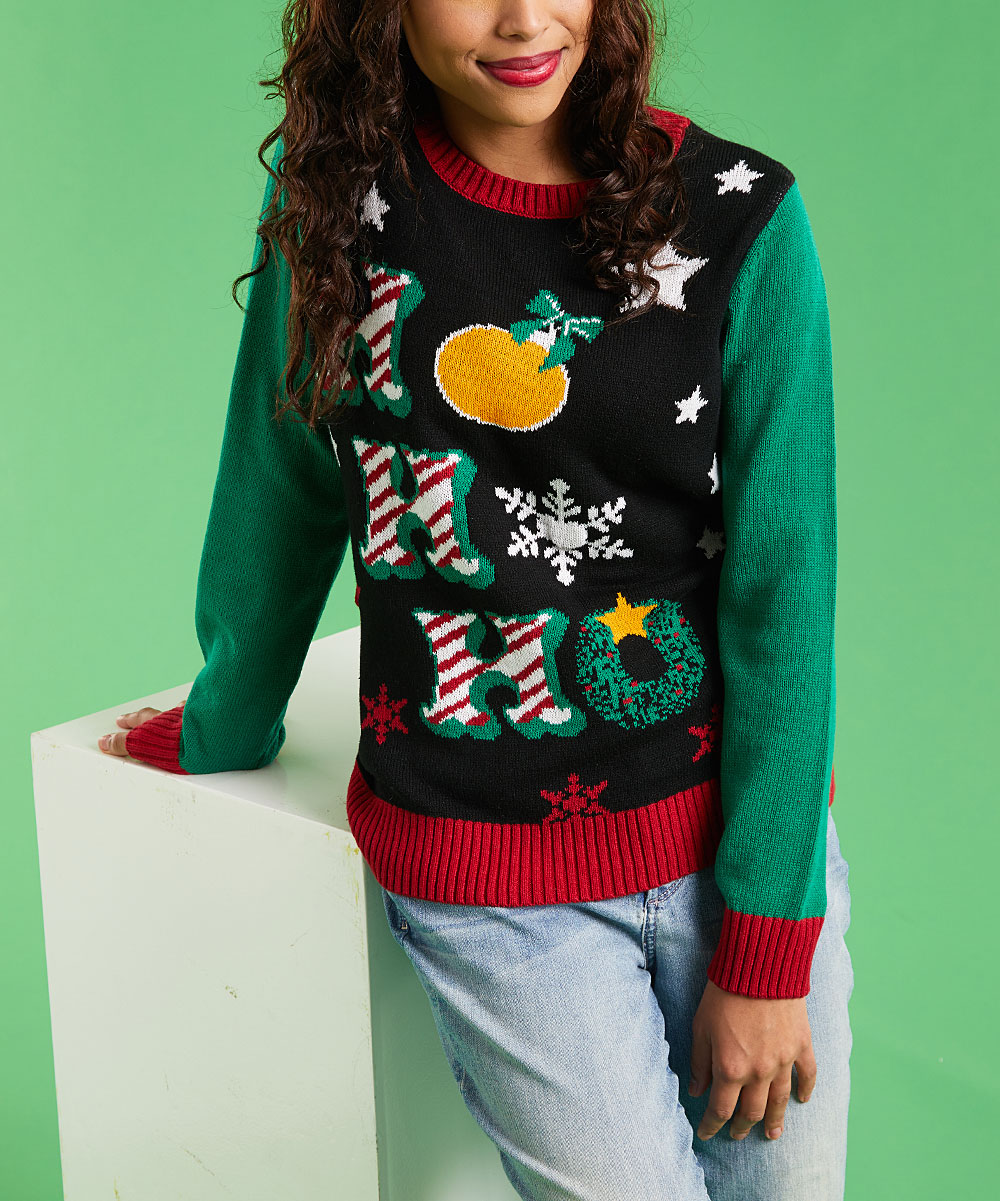 Ugly Christmas Sweater | Black 'Ho Ho Ho' Light-Up Sweater - Women being modelled (video with no audio)
