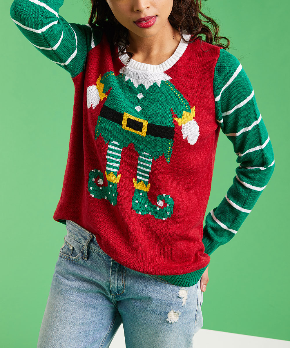 Ugly Christmas Sweater Cayenne Elf Fitted Sweater Women
