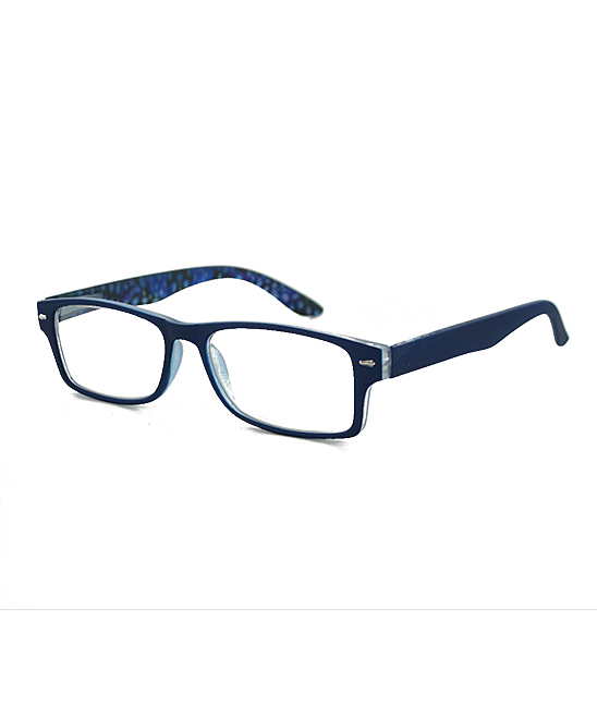 Jones New York Women's Reading Glasses Matte - Matte Blue & Silver Square Readers