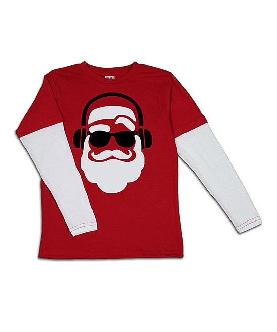 Urban Smalls Boys' Tee Shirts Red/cream - Red & Cream Santa with Headphones Layered Long-Sleeve Tee - Toddler & Boys