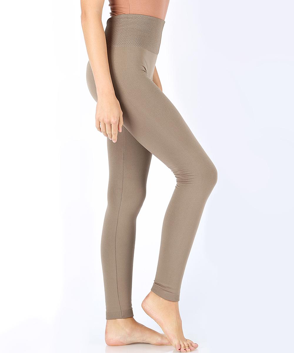 682d1b284f8a9c Zenana Mocha Tummy Control Fleece-Lined Leggings - Women | Zulily