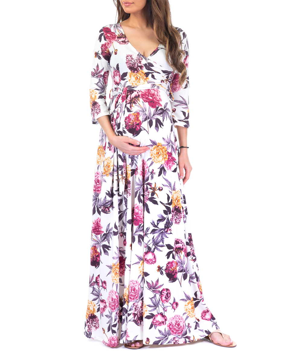 0326da053a89 Mother Bee Maternity Off-White Floral Belted Maternity Maxi Dress ...