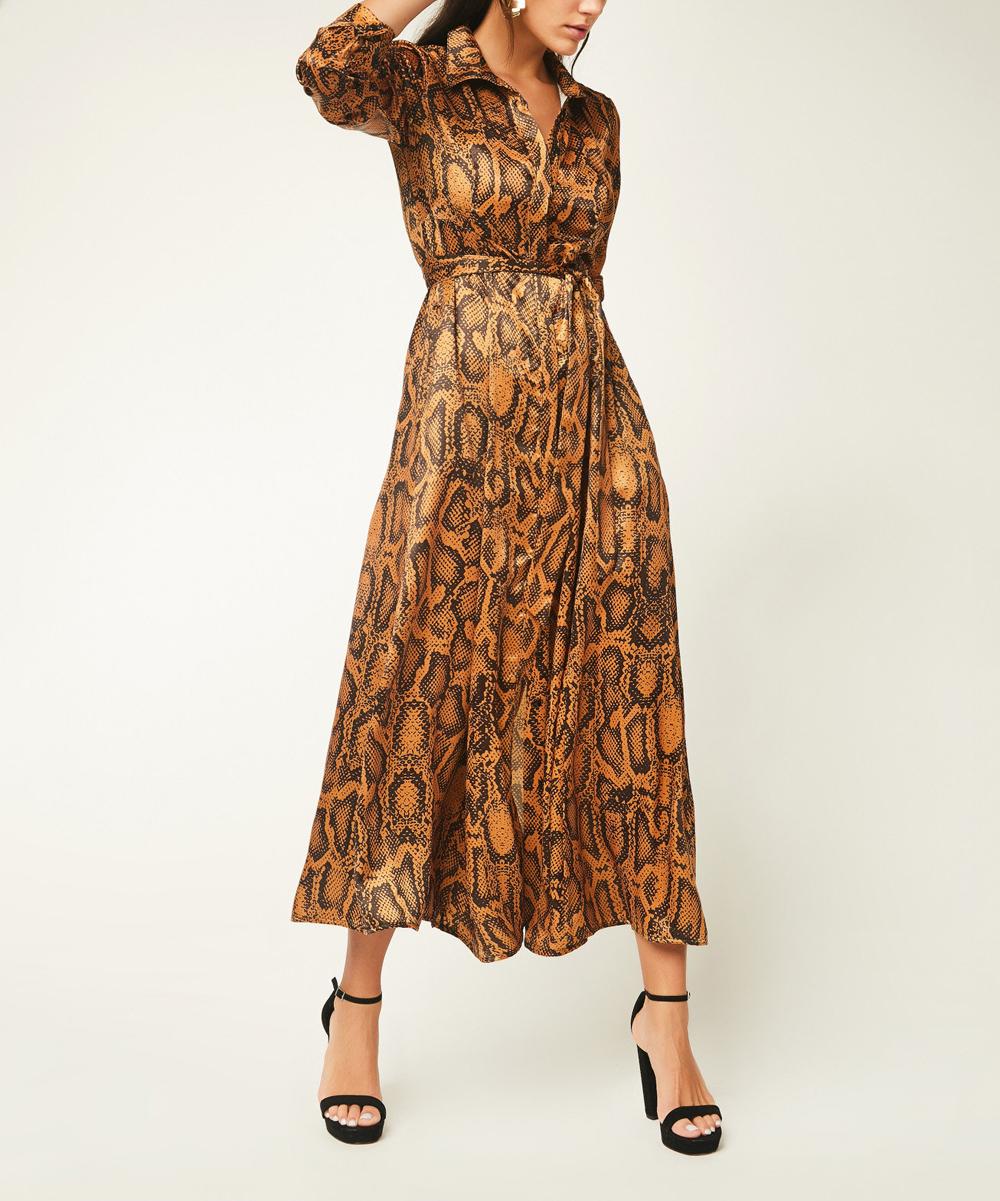 all gone. Brown Snake Print Midi Shirt Dress ... b7a7b03c32d