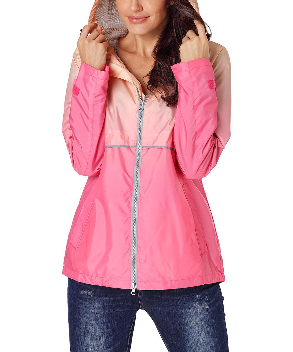 437f23f4 LEANI Pink Ombré Fitted Hooded Windbreaker - Women   Zulily