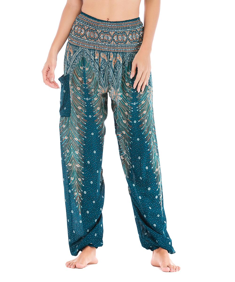 e34833f50ea3 Fée et rit Green Feather Yoga Pants - Women