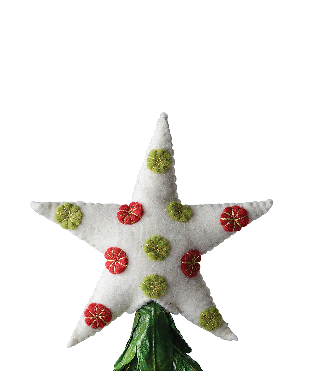 Polka Dot Wool Star Tree Topper | zulily