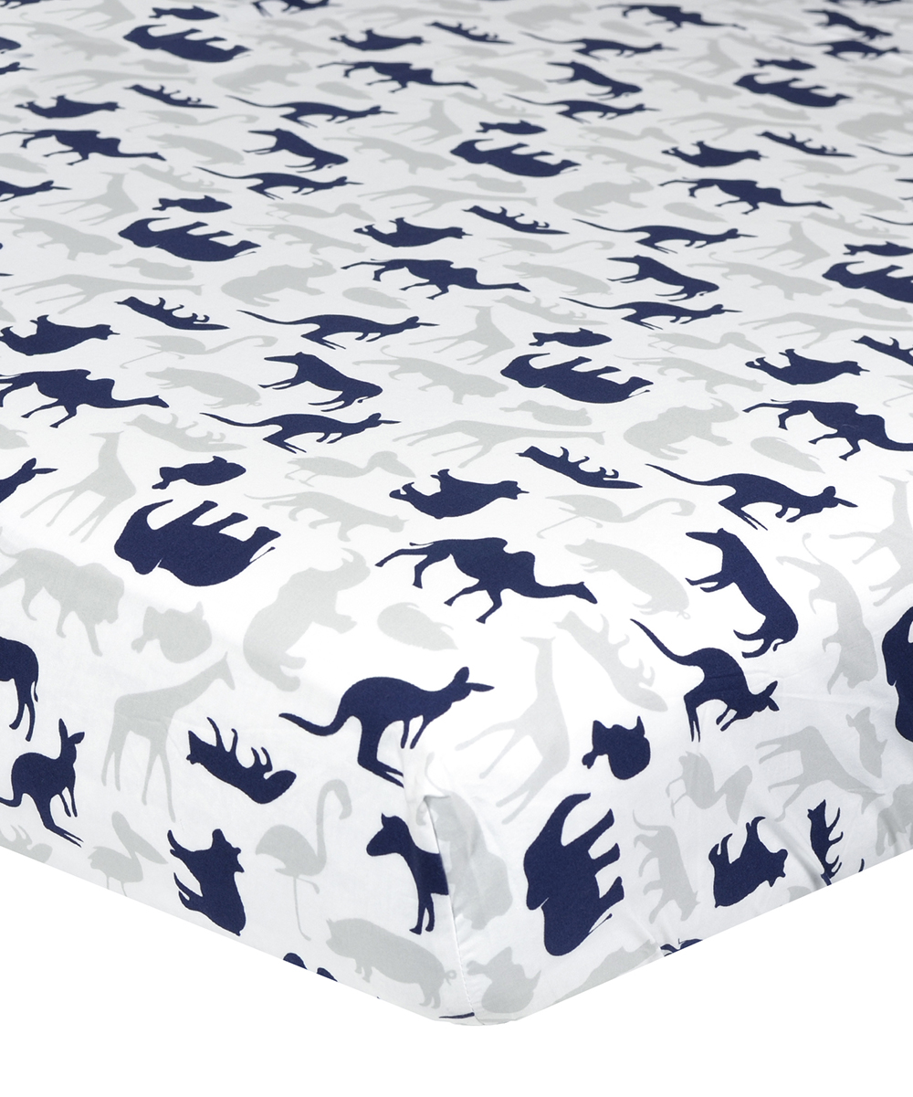 White & Navy Jungle Animal Fitted Crib Sheet