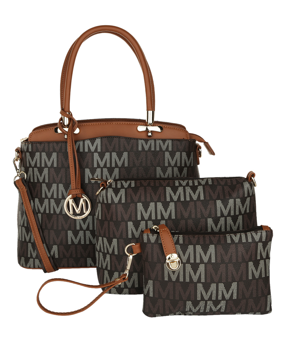 MKF Collection by Mia K. Farrow Women's Coin Purses Brown - Brown Signature 'M' Cammy Tote Set