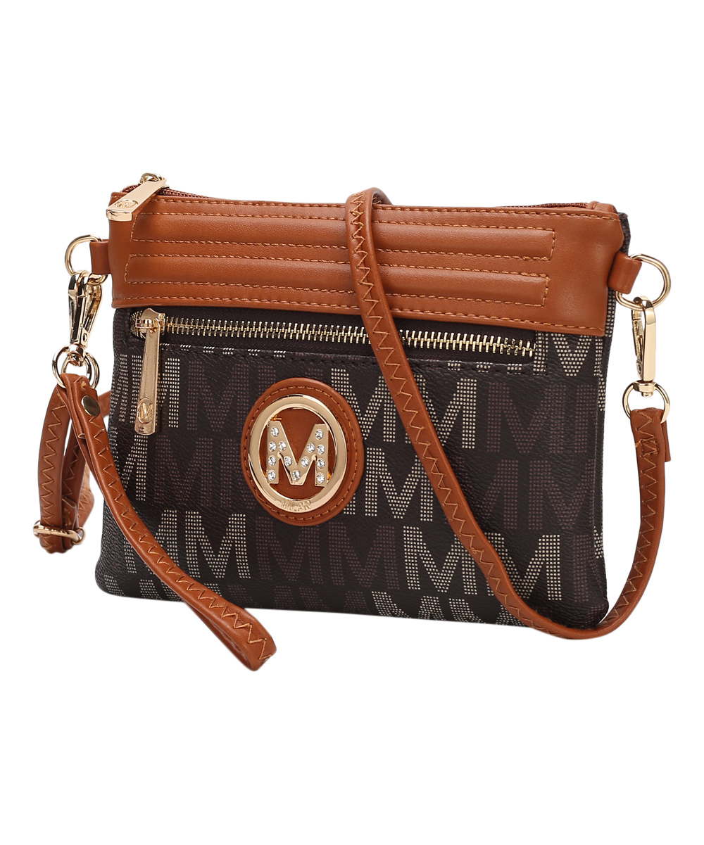 MKF Collection by Mia K. Farrow Women's Handbags  - Brown Signature Havana Crossbody Bag
