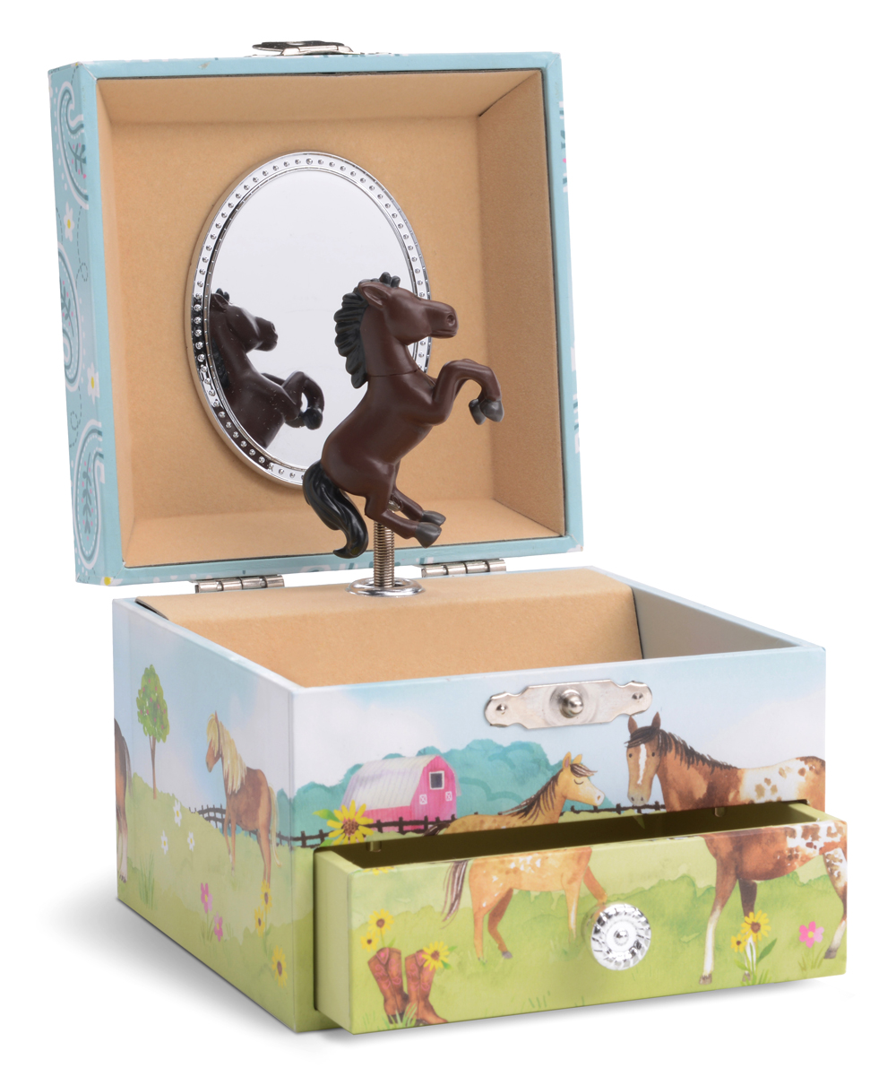 Horse Musical Jewelry Box Horse Musical Jewelry Box. A classic addition to any kiddo's collection, this musical jewelry box features a whimsical spinning horse and is lined with a supersoft fabric to keep trinkets and jewelry safe and scratch-free. 4.9'' W x 4.4'' H x 3.5'' DPlays Home on the RangeImported