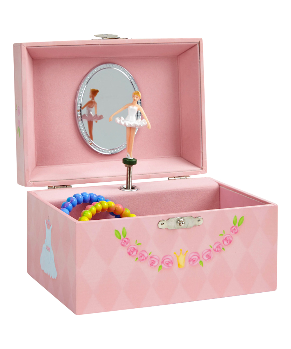 Pink Ballerina Jewelry Box Pink Ballerina Jewelry Box. A classic addition to any kiddo's collection, this musical jewelry box features a graceful spinning ballerina and is lined with a supersoft fabric to keep trinkets and jewelry safe and scratch-free.  6'' W x 4.62'' H x 3.5'' DPlays swan lakeImported
