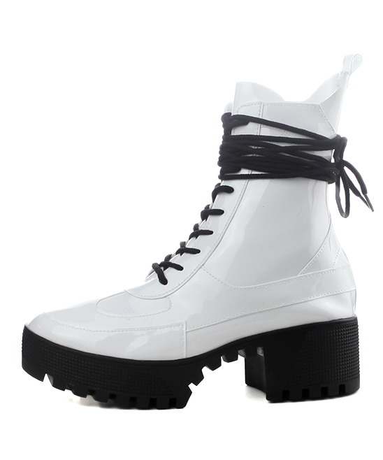 91b0ffe45 ... Womens WHITE White Dashing Patent Leather Combat Boot - Alternate Image  2 ...
