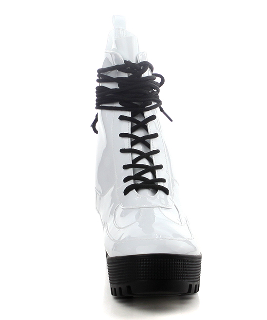 6f66a93da ... Womens WHITE White Dashing Patent Leather Combat Boot - Alternate Image  4