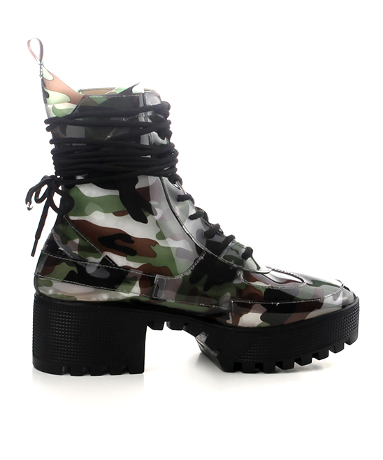 a316554d0 ... Womens CAMO Camo Dashing Patent Leather Combat Boot - Alternate Image 2  ...