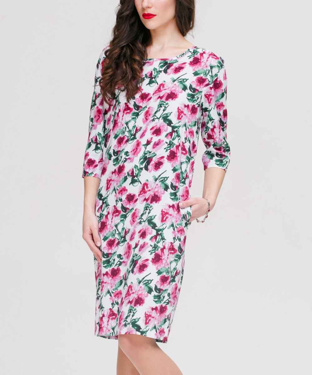768dda9daa0 love this product Pink Floral Linen-Blend Shift Dress - Women