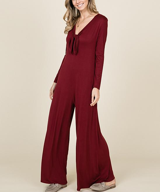 5c58301f0219 ... Womens BURGUNDY Burgundy Tie-Neck Wide-Leg Jumpsuit - Alternate Image 2  ...