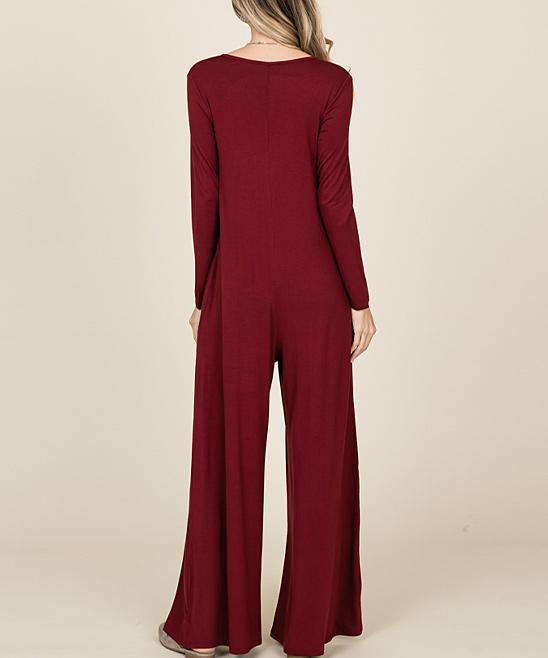 160f12eef308 ... Womens BURGUNDY Burgundy Tie-Neck Wide-Leg Jumpsuit - Alternate Image 4  ...