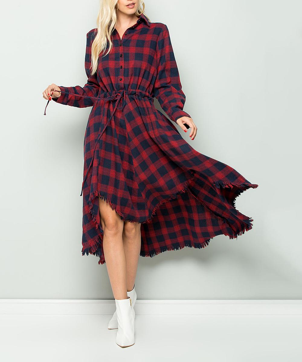 503ba843fe Red Plaid Button-Accent Hi-Low Shirt Dress - Women | Zulily