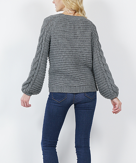 58eb987aa9c4a Gray Cable-Knit Puff-Sleeve Sweater - Women