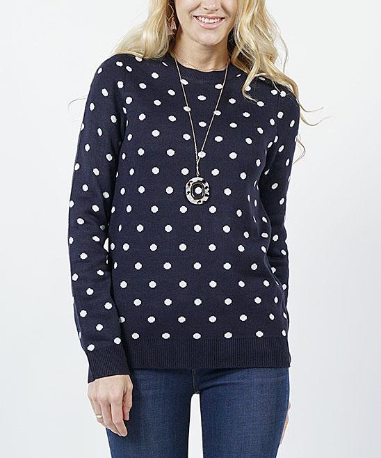 Navy Polka Dot Sweater Women Zulily