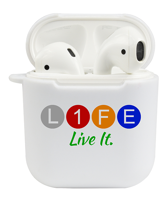 'Life. Live it' AirPod Case 'Life. Live it' AirPod Case. Whether you're jamming out at home or tuning in on-the-go, this graphic case keeps your AirPods safely secure in whimsical style. Full graphic text: Life. Live it. (The 'I' in Life is represented by the number one). TPUImported
